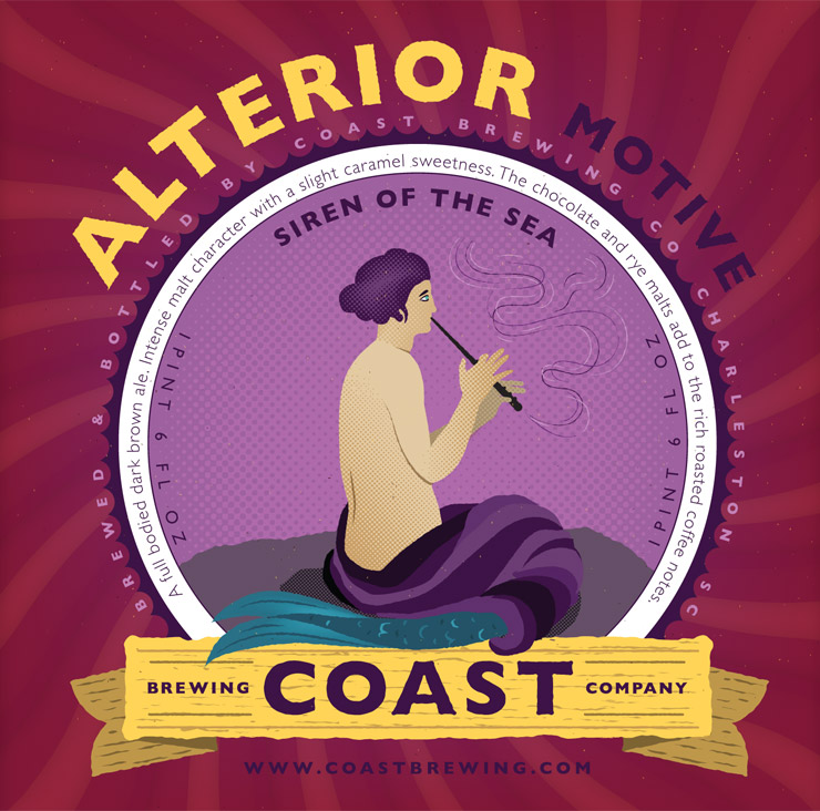 Label: Alterior Motive for Coast Brewing Company by Fuzzco