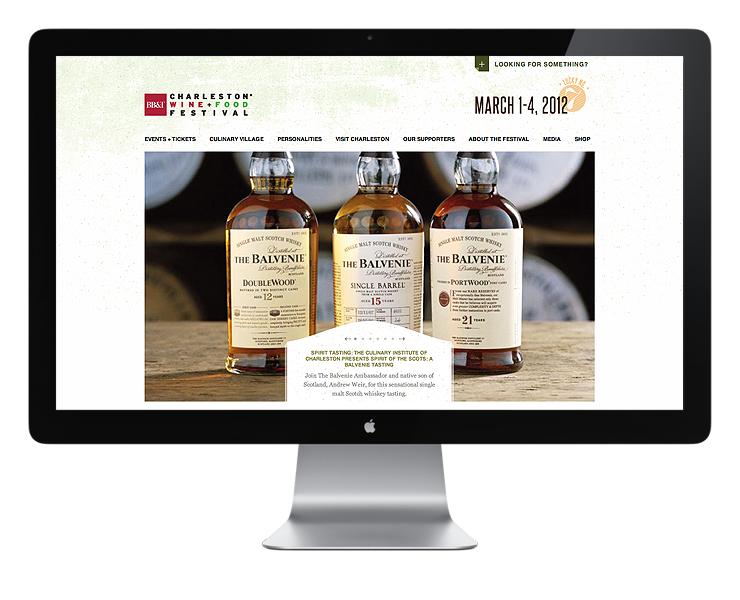 Website for Charleston Wine and Food by Fuzzco
