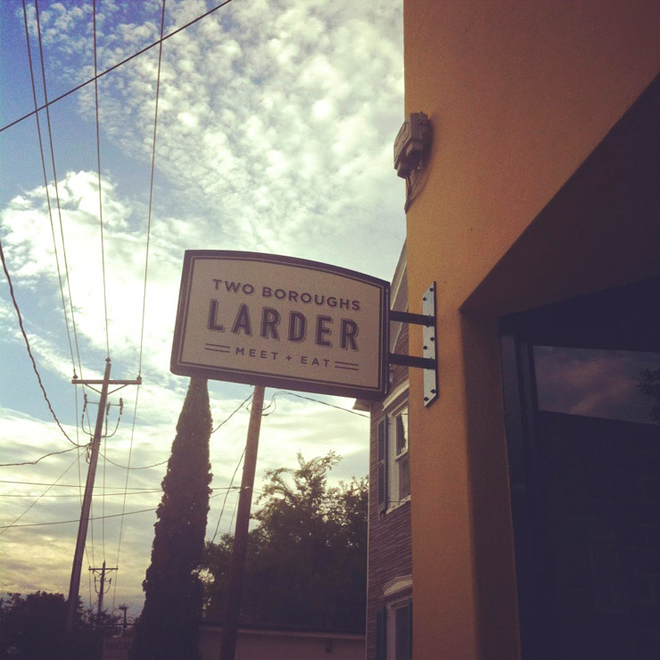 Signage Looking North for Two Boroughs Larder by Fuzzco