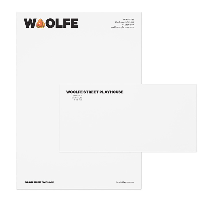 Letterhead and envelope for Woolfe Street Playhouse by Fuzzco