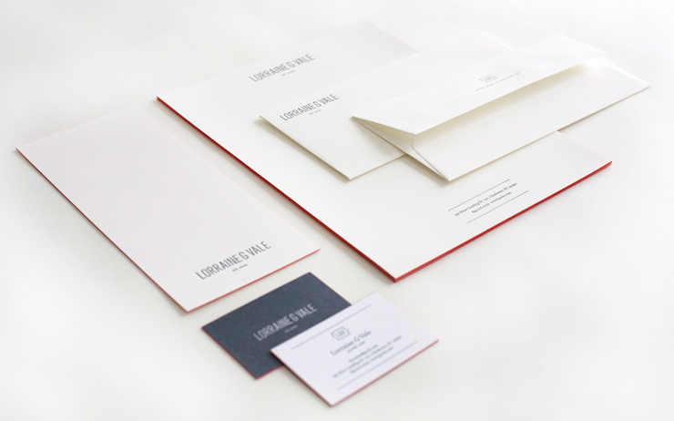Letterpress Business Cards, Letterhead, Envelopes, Notecard for Lorraine G Vale by Fuzzco
