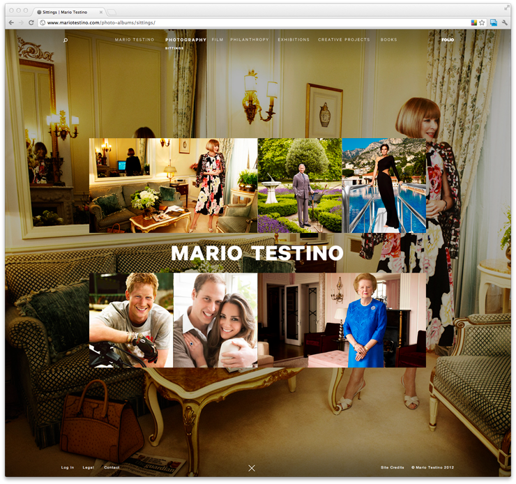 Mario Testino: Sittings for Mario Testino by Fuzzco