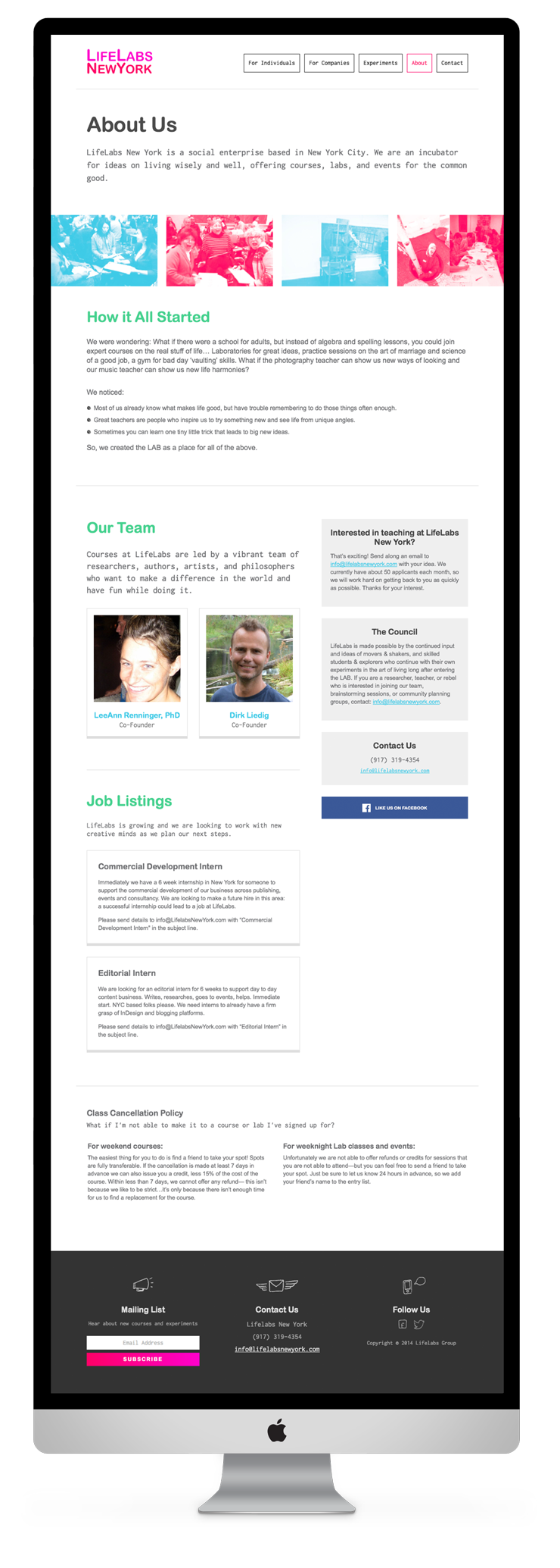 About Page for LifeLabs New York by Fuzzco